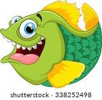 cartoon of green piranha | Shutterstock .eps vector #338252498