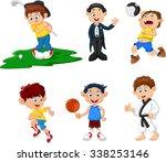 many children doing sport... | Shutterstock . vector #338253146