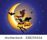 cute halloween witch with black ... | Shutterstock .eps vector #338254316