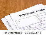 purchase order form on wooden... | Shutterstock . vector #338261546
