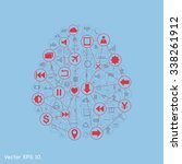 creative human brain with... | Shutterstock .eps vector #338261912