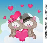 valentine card with lovers cats  | Shutterstock . vector #338284052