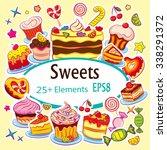 beautiful vector sticker set ... | Shutterstock .eps vector #338291372