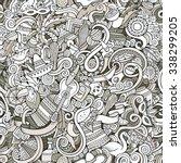 cartoon hand drawn doodles on... | Shutterstock .eps vector #338299205
