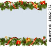 vector christmas border with... | Shutterstock .eps vector #338324792