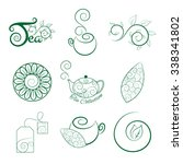logo set  of tea with a branch... | Shutterstock .eps vector #338341802