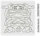 monochrome icon with celtic art ... | Shutterstock .eps vector #338359802