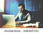 businessman working determine... | Shutterstock . vector #338365742