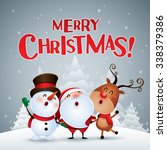 merry christmas  happy... | Shutterstock .eps vector #338379386