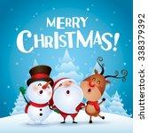 merry christmas  happy... | Shutterstock .eps vector #338379392