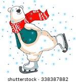 merry christmas. polar bear on... | Shutterstock .eps vector #338387882