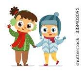 happy vector girl and boy... | Shutterstock .eps vector #338403092