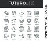 Modern thin line icons set of money making, banking and financial services. Premium quality outline symbol collection. Simple mono linear pictogram pack. Stroke vector logo concept for web graphics. | Shutterstock vector #338429486