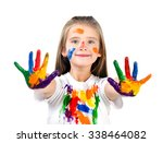 happy cute little girl with... | Shutterstock . vector #338464082
