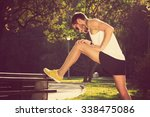 stretching after jogging. | Shutterstock . vector #338475086