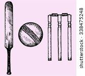 set of equipment for cricket ... | Shutterstock .eps vector #338475248