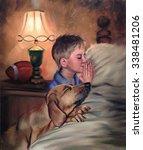 Boy And Dog Praying Bedtime...
