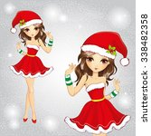 cute fashion girl wearing santa ... | Shutterstock .eps vector #338482358