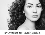 black and white portrait of... | Shutterstock . vector #338488016
