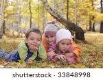 happy children in autumn park | Shutterstock . vector #33848998