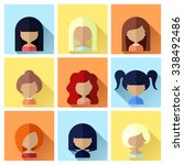 colorful avatars female square... | Shutterstock . vector #338492486