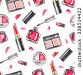 watercolor make up products set.... | Shutterstock . vector #338514422