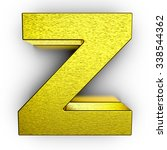 golden 3d alphabet letter z on... | Shutterstock . vector #338544362