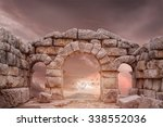fantasy medieval temple and... | Shutterstock . vector #338552036
