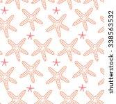 starfish line art seamless... | Shutterstock .eps vector #338563532