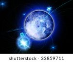 blue planet next to a bright... | Shutterstock . vector #33859711