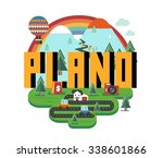 plano texas beautiful city to... | Shutterstock .eps vector #338601866