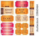 set of vintage tickets with...   Shutterstock .eps vector #33860464