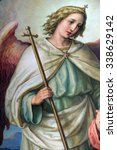 Small photo of ZAGREB, CROATIA - MAY 28: Guardian angel, altarpiece in the Basilica of the Sacred Heart of Jesus in Zagreb, Croatia on May 28, 2015