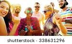 friends summer beach party... | Shutterstock . vector #338631296