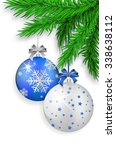 blue and silver christmas balls ... | Shutterstock .eps vector #338638112