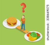 health or junk food isometric... | Shutterstock . vector #338669075