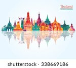 thailand detailed skyline.... | Shutterstock .eps vector #338669186