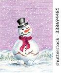 christmas winter background...   Shutterstock . vector #338694485