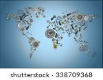 draw a map of the world made up ... | Shutterstock .eps vector #338709368