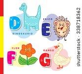spanish alphabet. dinosaur ... | Shutterstock . vector #338718362