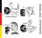 deutsch alphabet. dinosaur  egg ... | Shutterstock . vector #338718446