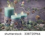 Green Christmas Candles And...