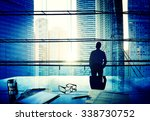 cityscape businessman thinking... | Shutterstock . vector #338730752