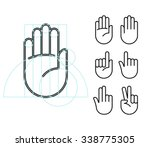 hand gesture line icon set in...