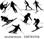 set of skier silhouettes | Shutterstock .eps vector #338781956