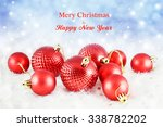 christmas background with red...   Shutterstock . vector #338782202