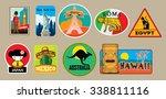 vector set of travel stickers | Shutterstock .eps vector #338811116