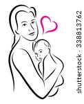 stylized holy union of mother... | Shutterstock .eps vector #338813762