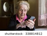 elderly woman typing on the... | Shutterstock . vector #338814812