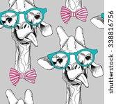 seamless pattern with giraffes... | Shutterstock .eps vector #338816756